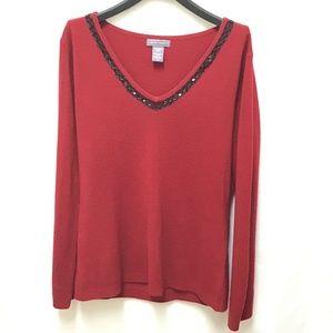 Laura Scott Red Sweater w Beading at Neckline, M